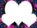 3 coeurs avec fleurs fuchia et bleu noir 3 photos
