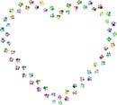 coeur en forme d'empreintes pattes multicolores 1 photo
