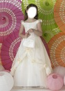Pretty A-line off the shoulder Ivory little girl birthday party dress