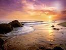 Plage + coucher du soleil + Visage