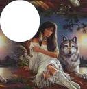 une indienne et 1 loup 1 photo cadre