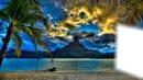 Au couché du soleil à Tahiti