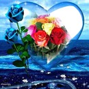 corazon rosa azul