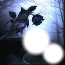 corbeau à la rose noir
