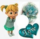 Rosa terqueza corazones