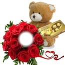 Peluche con rosas y chocolates