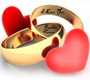 wedding rings, Heart
