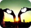 2 coeur ,coucher de soleil