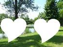 cadre amour tout prés d'un étang