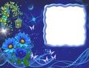 Cadre bleu-fleurs-papillons-nuit