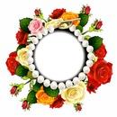 Marco de perlas y rosas