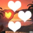 coucher de soleil coeur doré