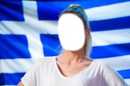 Greek flag in beautiful girl