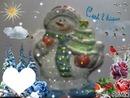 Bonhomme de neige avec chaussures bleues peint par Gino GIBILARO avec coeur et déco picmix