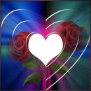 coeur avec 2 roses  rouge 1 photo