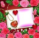 flores, corazones y carta