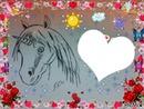 une licorne dessiné par Gino Gibilaro avec coeurs,soleil,roses,papillon ;;;