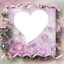 cadre coeur fleurie rose romantique