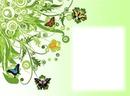 Cadre - fleurs - papillons