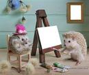 hérissons peintres 2 photos