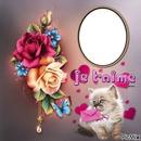 cadre fleurs chat