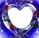 corazon lila y rosas