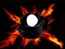 rose noir flamme