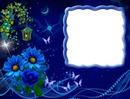 Fleurs bleues-papillons-nuit