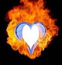 coeur bleu en feu 1 photo