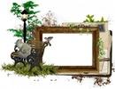 Cadre de bois-chat-oiseau-banc