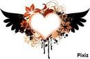 coeur orange et noir