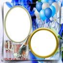 cadre fleuri avec balon 2 photos pour une fête