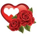 coeur avec deux roses  2 photos cadre assemblés