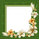 Green Frame with Flowers