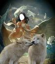 lobo blanco y chica