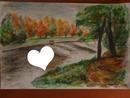Paysage automnal dessin fait par Gino GIBILARO avec coeur