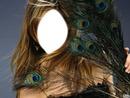 visage de femme plume de paon