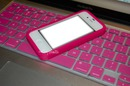 iphone with pink keyboard