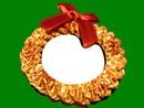 Cadre couronne de Noël fond vert