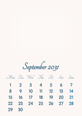 September 2031 // 2019 to 2046 // VIP Calendar // Basic Color // English