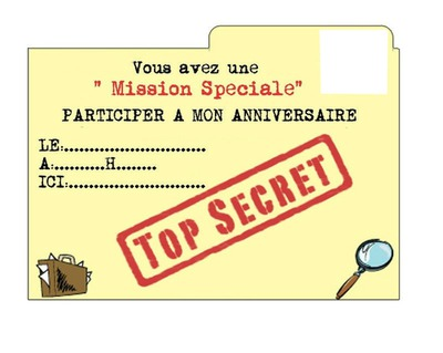 Nouvel Photo montage Invitation Top Secret - Pixiz NF-69