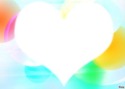 Coeur sur fond bulles multicolores