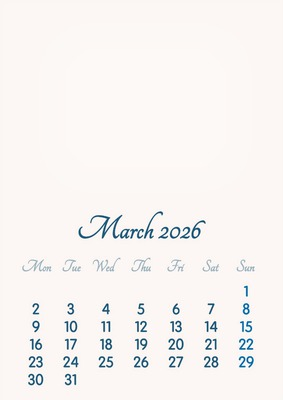 March 2026 // 2019 to 2046 // VIP Calendar // Basic Color // English