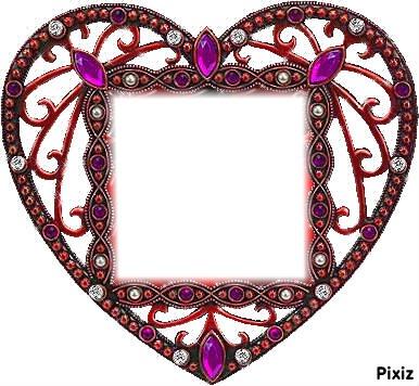 cadre coeur aux pierres précieuses