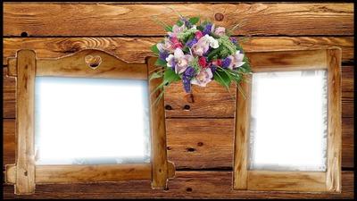 Cadre fleurs et bois