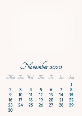 November 2020 // 2019 to 2046 // VIP Calendar // Basic Color // English
