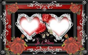 2 coeurs avec des roses rouges