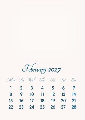 February 2027 // 2019 to 2046 // VIP Calendar // Basic Color // English