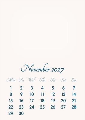 November 2027 // 2019 to 2046 // VIP Calendar // Basic Color // English
