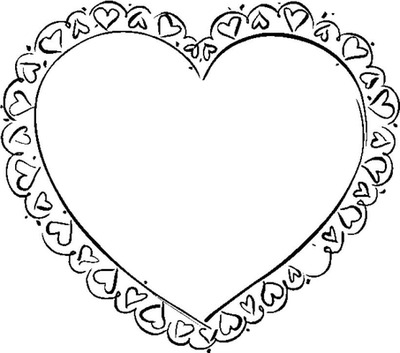 Cadre noir et blanc petits coeurs